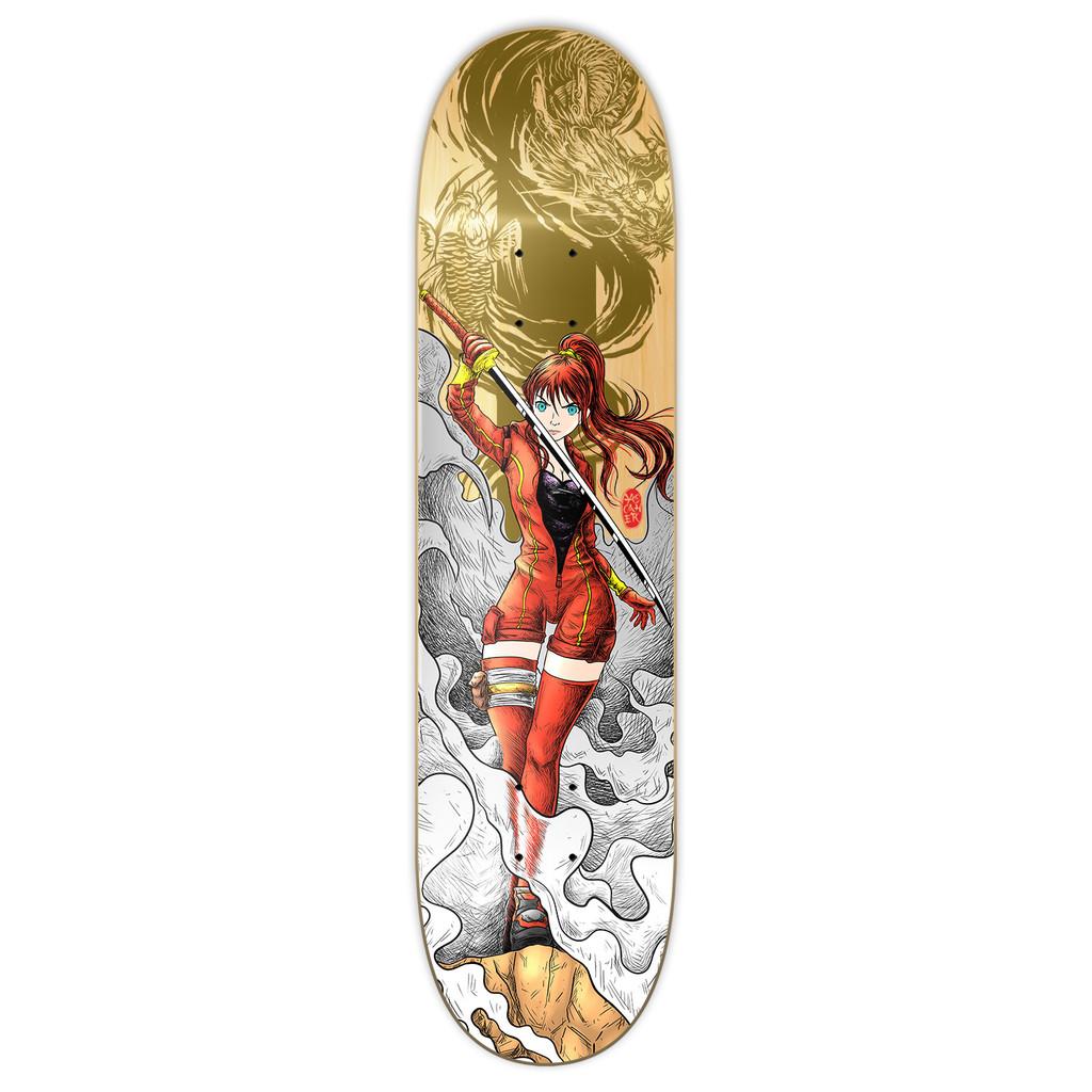 Yocaher Graphic Skateboard Deck  - Samurai Series - Girl Samurai Gold Dragon