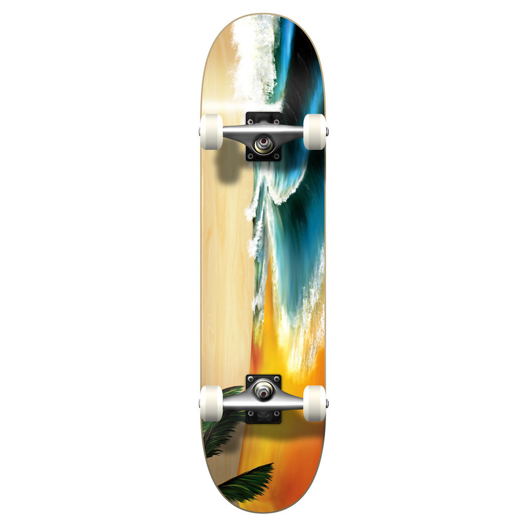 """Yocaher Graphic Beach Complete 7.75"""" Skateboard"""
