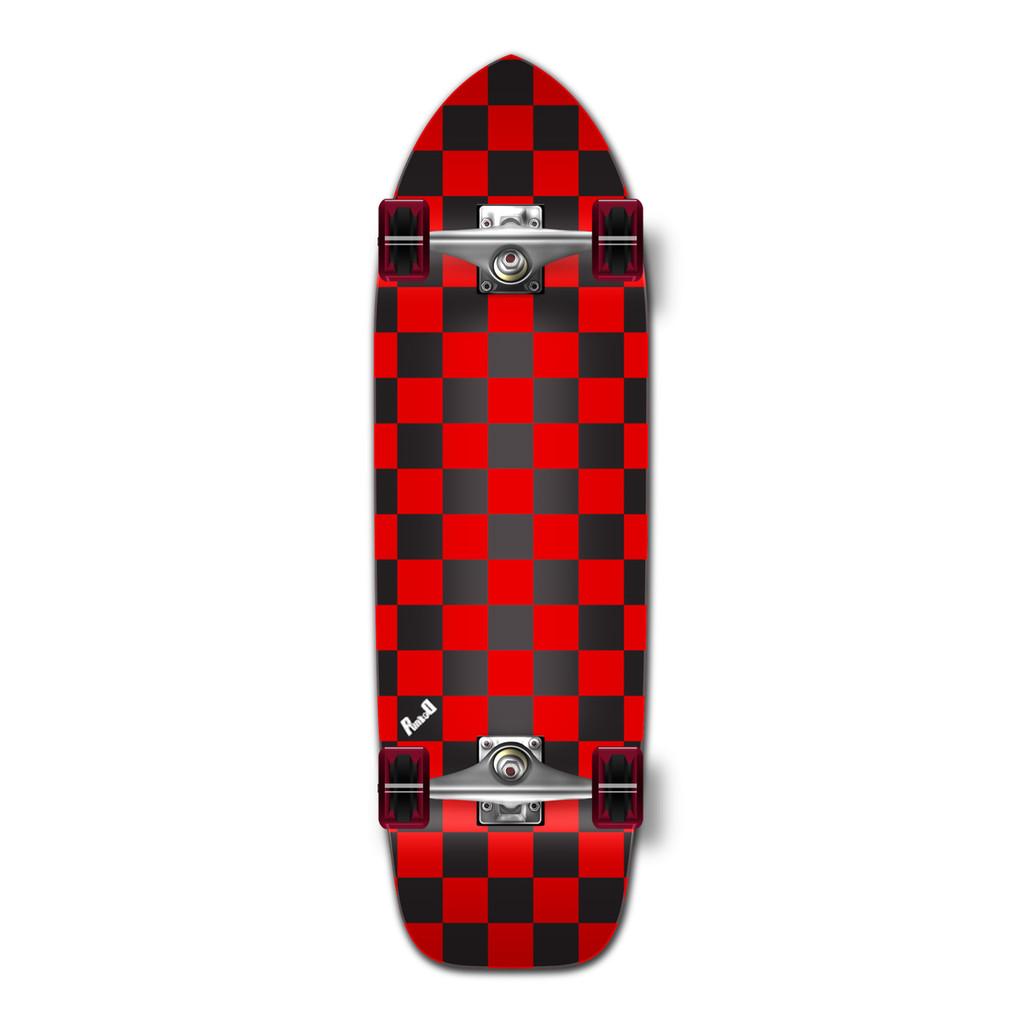 Old School Longboard Complete - Checker Red