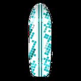 Old School Longboard Deck - White Digital Wave