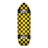 Old School Longboard Complete - Checker Yellow