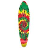 Kicktail Tiedye Rasta Longboard Deck