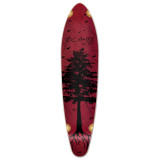 Kicktail Longboard Deck - In the Pines : Red