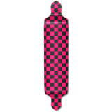 Drop Down Longboard Deck - Checker Pink
