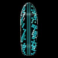 Old School Longboard Deck - Black Digital Wave