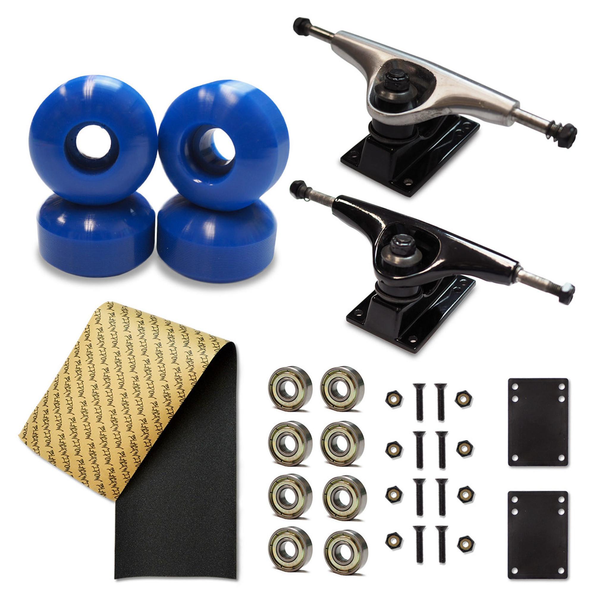 Owlsome 5.0 Black Aluminum Skateboard Trucks w// 52mm Wheels Combo Set