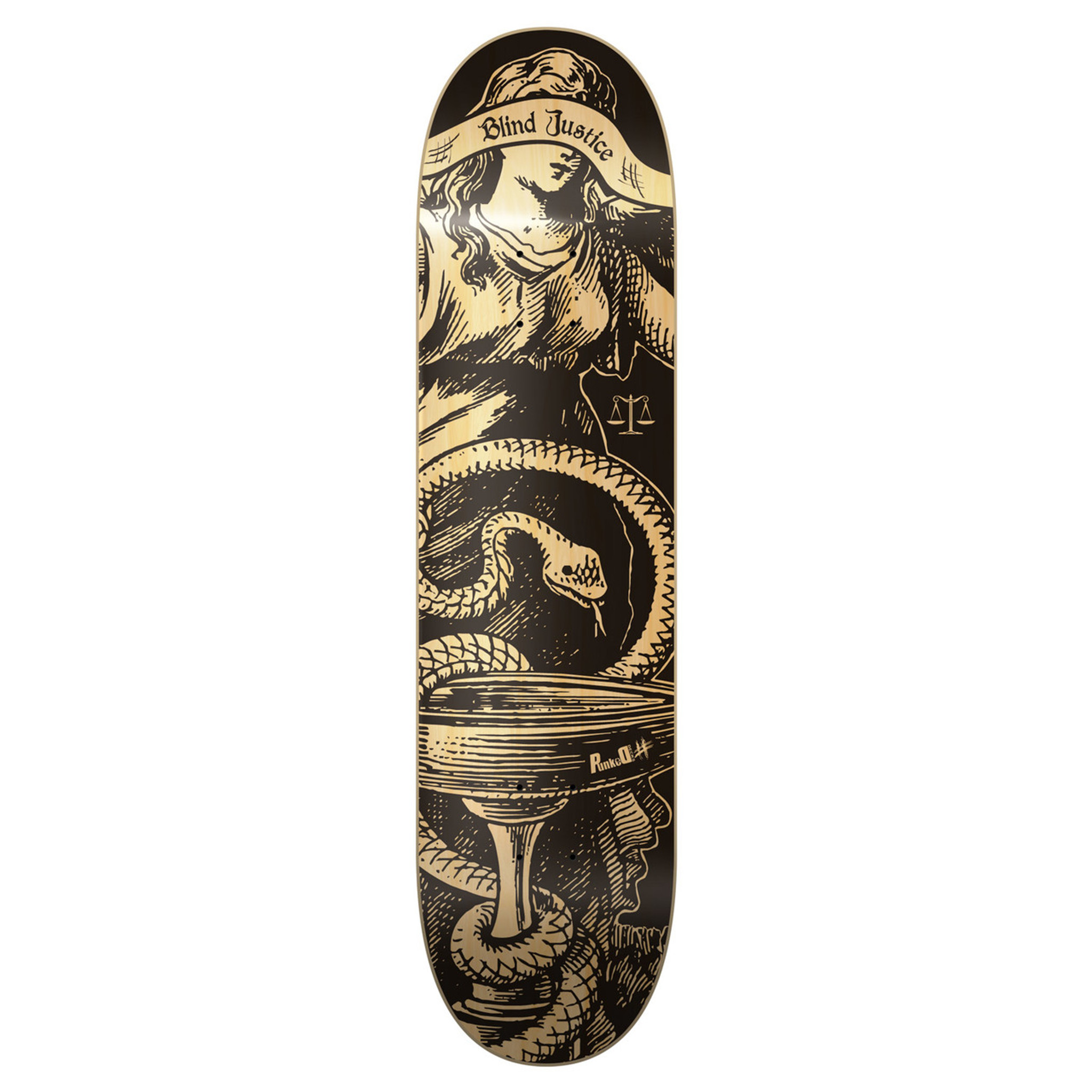8.5 inch Yocaher Graphic Natural Blind Justice Skateboard Deck