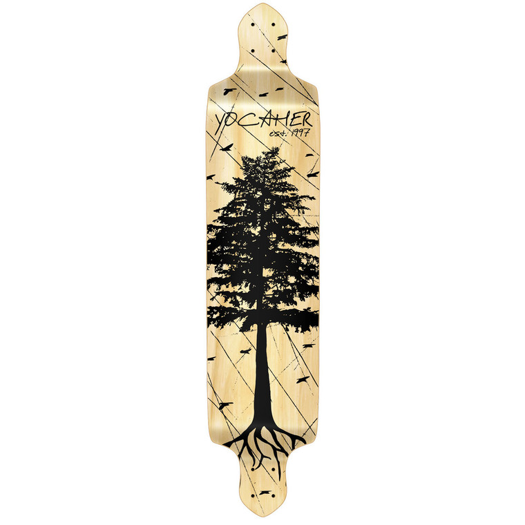 YOCAHER Drop Down Longboard Deck - In the Pines : Natural