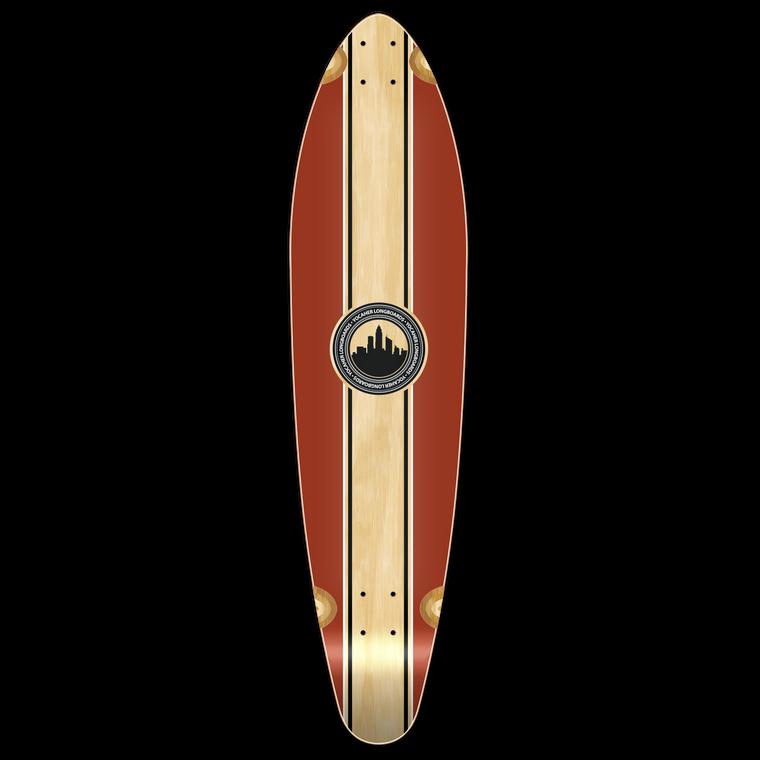 Kicktail Longboard Deck - Crest Burgundy