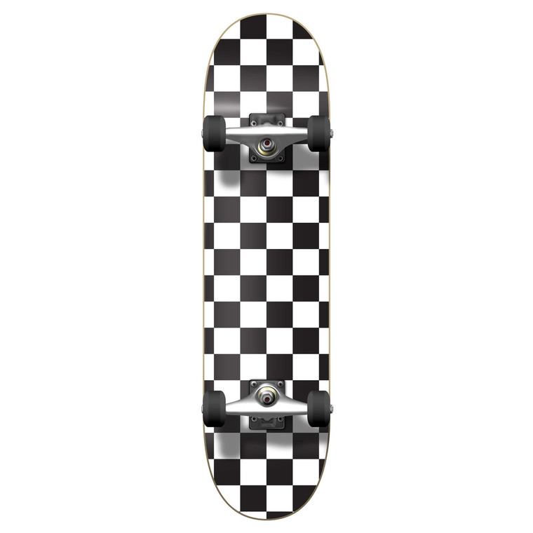 """Yocaher Graphic Complete 7.75"""" Skateboard - Checker White"""