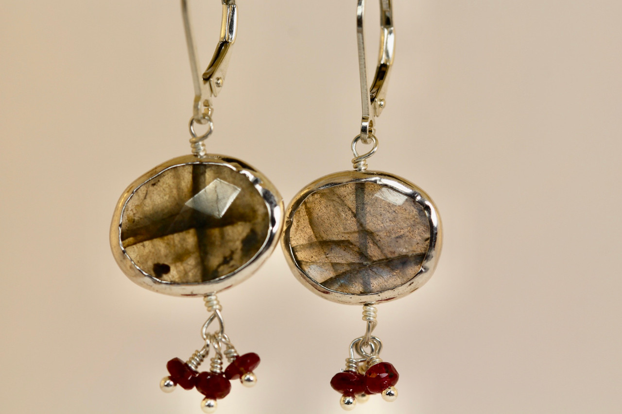 Green Labradorite Drop Earrings Sterling Silver  Labradorite Jewellery  Solid Silver  Gift for her