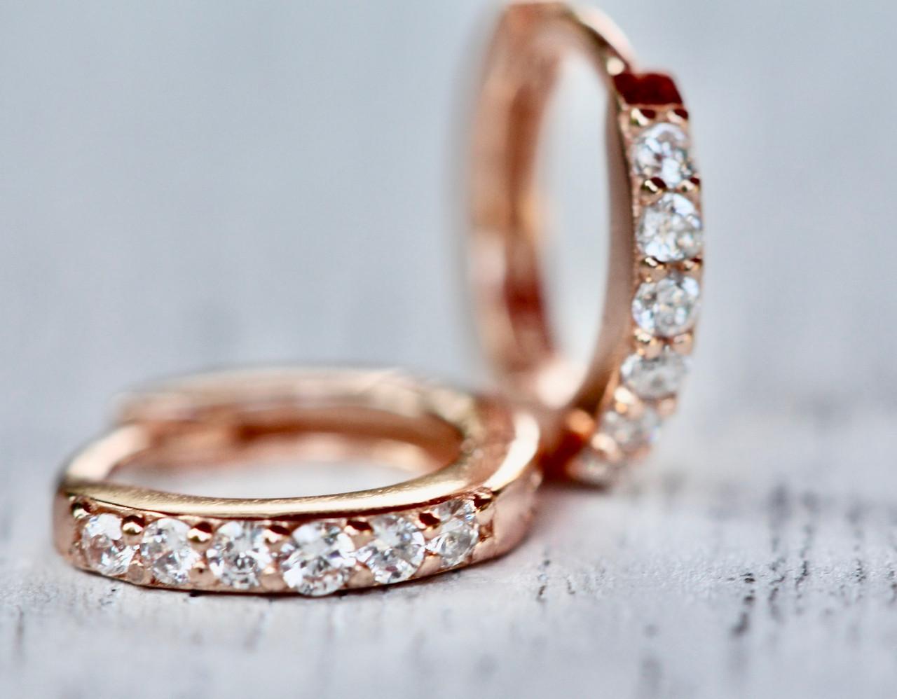 Rose Gold Tiny Diamond Huggie Earrings 14k Rose Gold Small Diamond Hoops Diamond Rose Gold Huggie Earrings
