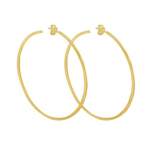 Large 14K Yellow Gold Hammered Hoops, Gold Large Statement Hoop Earring,  Hand Made Hammered Hoop Earring
