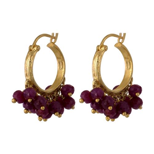 Ruby Clustered Huggie Small Hoop Earrings, 14K Yellow Gold Ruby Hoop Earring, Ruby earring, Hand Made Ruby Cluster Earring