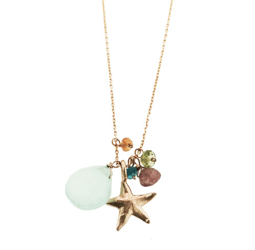 Sea Star Charm Necklace with Aqua Chalcedony , Pink tourmaline, blue topaz, peridot, and orange garnet