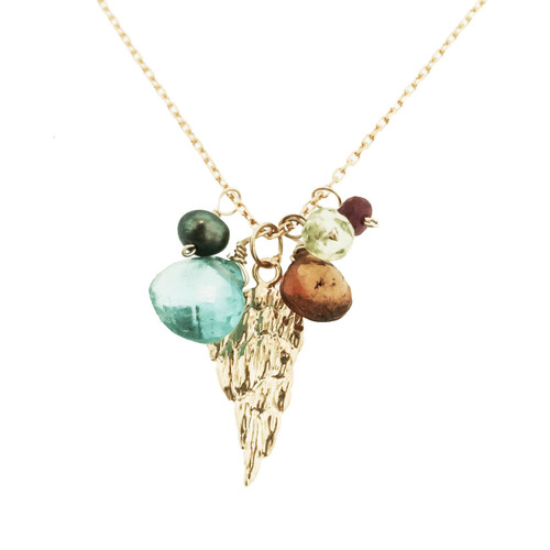 wing charm necklace with appetite, Citrine,  black pearl , peridot and ruby