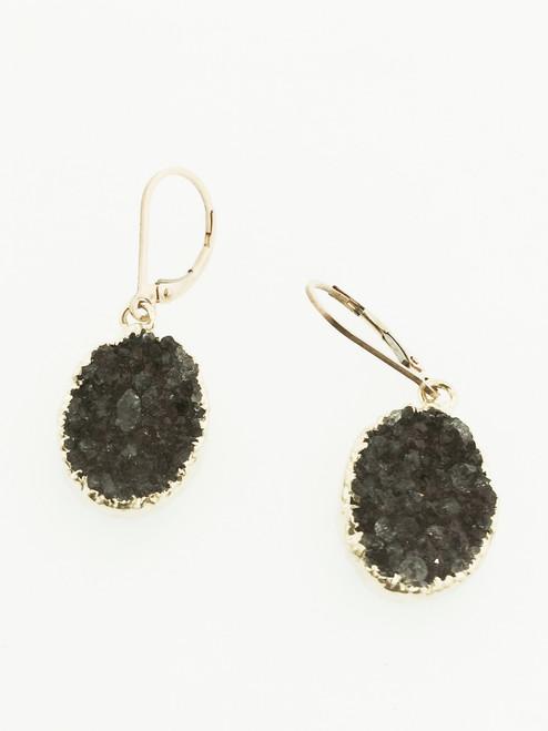 Agate Druzy Drop Earring, 14k Yellow Gold Geode Earring, One of A Kind Drusy Drop earring, Gemstone Earring Hand Made
