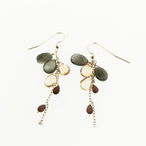 14K Yellow gold Gemstone Cascade Earring, Labradorite Citrine & Garnet Cascade Earring, Statement Cascade Gemstone Earring Hand Made