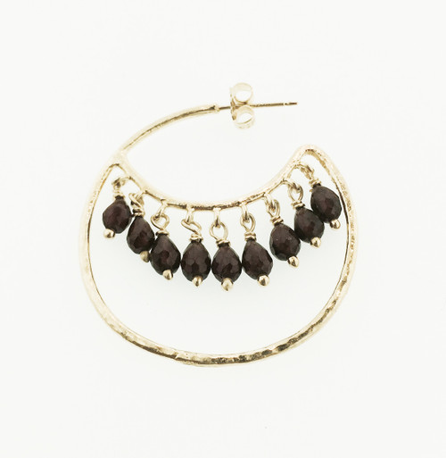 Crescent Rhodolite Garnet Earring, Garnet Hoop earring, Statement Hoop Earring with Gemstones, Handmade Garnet Hoop Earring, Post Back Hoop Earring