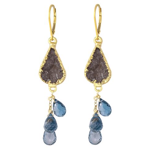14k gold-filled druzi and london blue topaz cascade earrings