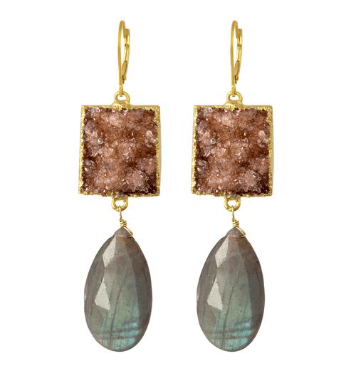14k Yellow Gold  Drusy Quartz &  Labradorite Drop Earring, Labradorite Statement Earring,  One Of A Kind Gemstone Cascade Earring Hand Made,  Gemstone Earring