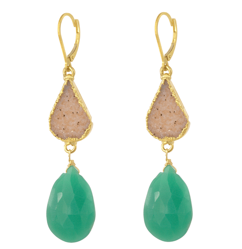 14K Yellow Gold Druzy Chrysoprase Drop Earring, Chrysoprase Dramatic Statement Earring, Gemstone Drop Drusy Earring, Statement Earring