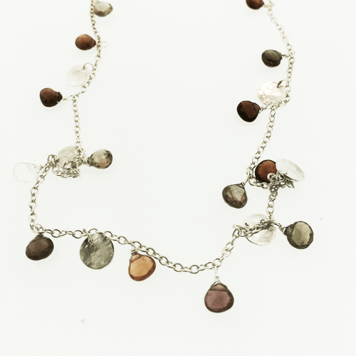 Multi Tourmaline and hammered silver disc hand made necklace