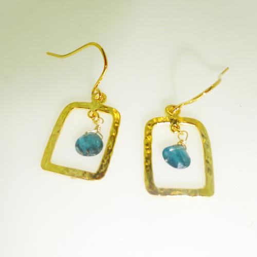 14 karat gold vermeille apatite hammered rectangle drop earrings