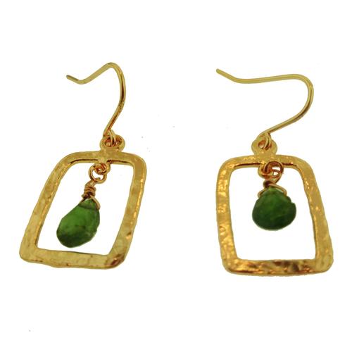 14 karat rose gold vermeil tsavorite hammered rectangle drop earrings