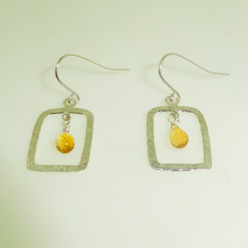 Sterling Silver Hammered Citrine Drop Earring, Contemporary Rectangle Drop Earring, Citrine Gemstone Dangle Earring Hand Made
