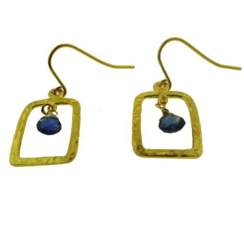 14 karat gold vermeil kyanite hammered drop earrings