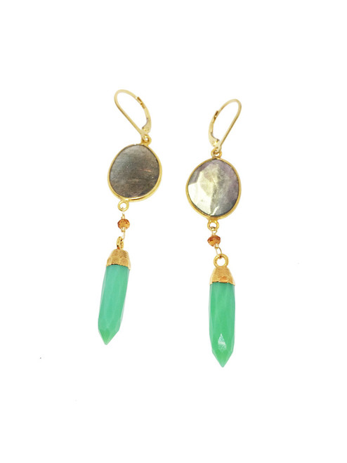 Labradorite and citrine 14k earrings with chrysoprase spike drops