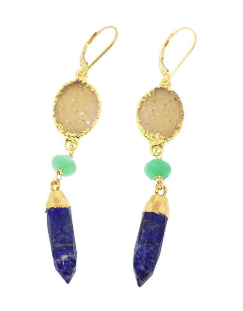 14k Jasper druse chrysoprase earrings with lapis lazuli spike drops