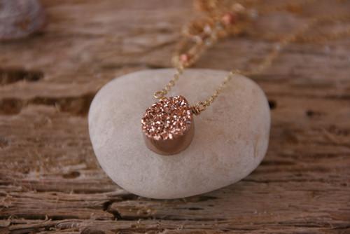Titanium Rose Gold Drusy Drop Pe!ndant Necklace 14k Gold-filled, Drusy Drop Pendant , Gem Drop necklace, Hand Made Rosegold Necklace