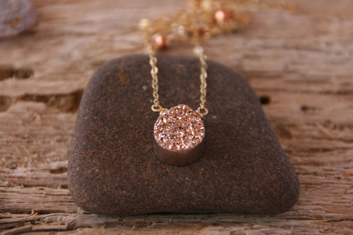 Titanium Rose Gold Drusy Drop Pe!ndant Necklace 14k Gold-filled, Drusy Drop Pendant , Gem Drop necklace, Hand Made Rosegold Necklace