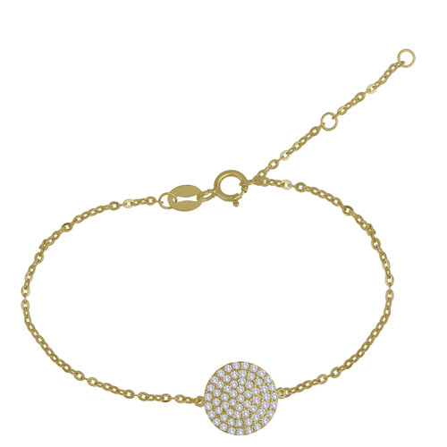 Pave Bracelet 14K Yellow  Gold, Stackable Bracelet, Cubic Zirconia CZ Bracelet, Pave Bracelet