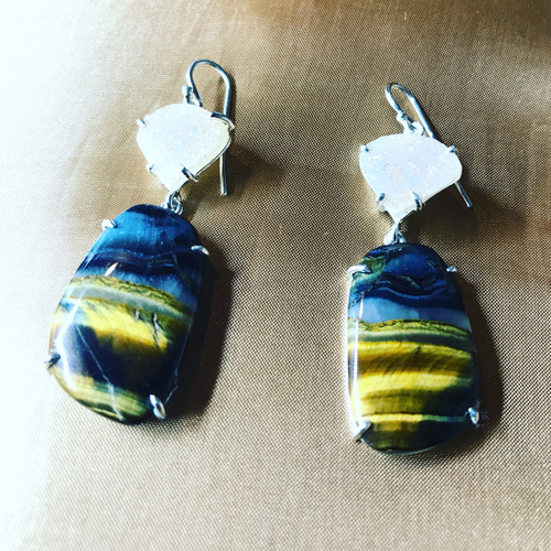 Blue Tiger Eye Sterling Silver Drusy Quartz Drop Earrings,  Statement Earring, Tigereye Gemstone Hand Made