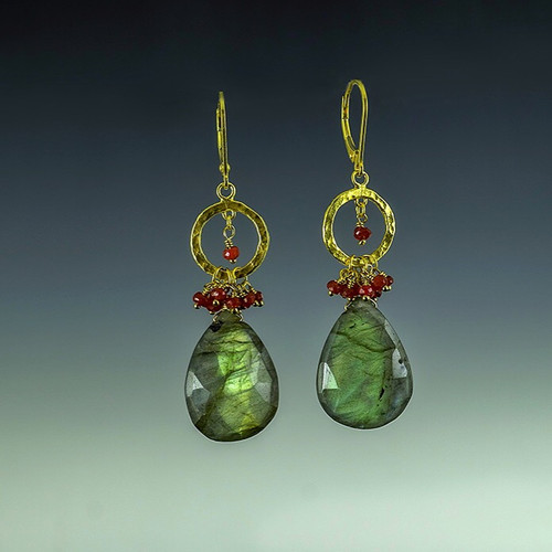 14K  gold labradorite ruby drop earrings