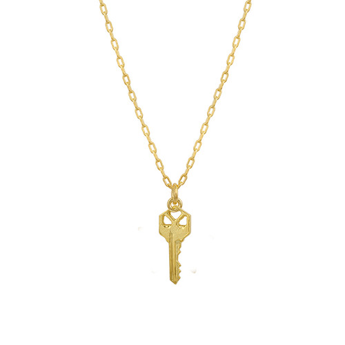 14K Yellow Gold Square Key Necklace, Gold Key Necklace, Tiny Key Necklace , Layering Gold Necklace