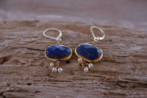 14K Yellow Gold Lapis Lazuli Pearl Cluster Drop Earrings< Gemstone Drop Earring, Lapis Lazuli Earring, Pearl & Lapis Lazuli Earring
