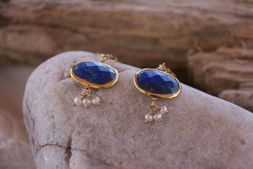 14K Yellow Gold Lapis Lazuli Pearl Cluster Drop Earrings< Gemstone Drop Earring, Lapis Lazuli Earring, Pearl & Lapis Lazuli Earring