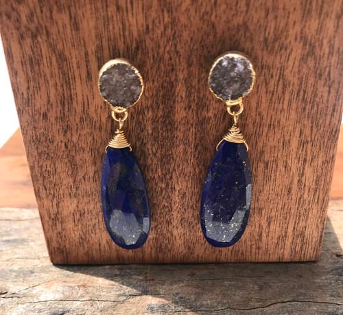 Lapis lazuli Drop Drusy Earrings 14karat yellow gold filled