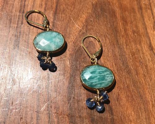 14K  Yellow Gold Amazonite Blue Sapphire Earring, Gemstone Cluster Earring, Gem Drop Earring, Ammonite Drop Earring Hand Made!
