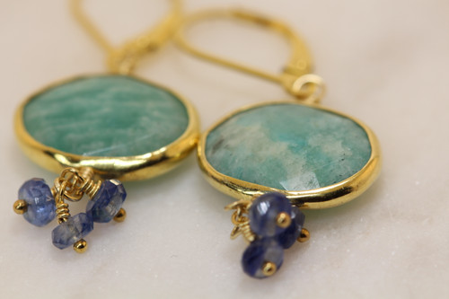 Unique Gold Amazonite Blue Sapphire Earring, Exquisite Gemstone Cluster Earring, Gem Drop Earring, Amazonite  Drop Earring Hand Made!