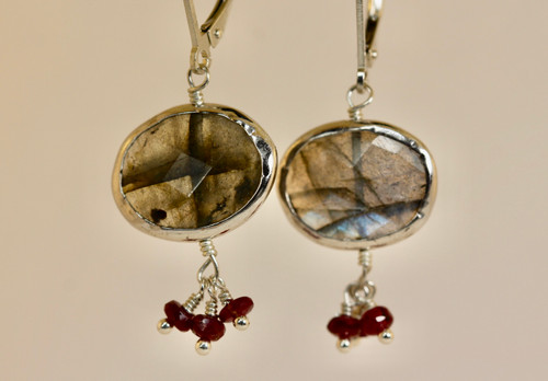 Exquisite Labradorite Gemstone Drop Earring, Very unique labradorite and Ruby Drop Earring, Special Gift For Her
