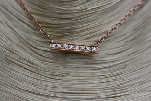 14K Rose Gold Short Micro Pave Diamond Bar Necklace, 14K Gold Diamond Necklace, Small Bar Necklace, Layering Necklace Hand Made Rose Gold
