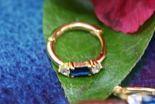 14k Yellow Gold Sapphire Hoop Earring, Sapphire Huggie Earring, CZ Baguette Sapphire Earring, Gold Hoop Earring