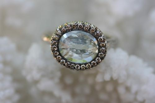 Aquamarine & Diamond Cocktail Ring, Sterling Silver Diamond Aquamarine Ring, Gemstone Statement Ring, Hand Made Cocktail Ring, Aquamarine Ring