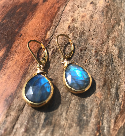 Labradorite Tear Drop Earring, 14K Yellow Gold Labradorite Drop earring, Handmade Labradorite GemStone Drop Earring, Gift For Her