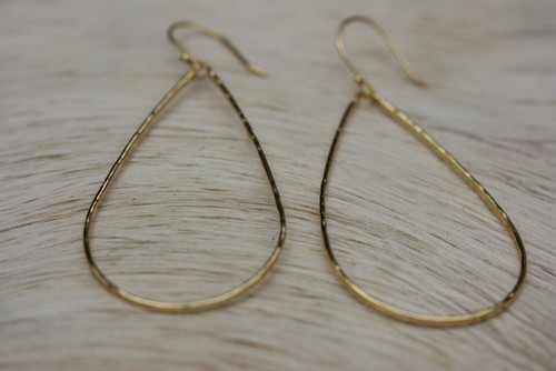 14k Yellow Gold Tear Drop Hoop Earring, Hammered Textured Tear Drop Hoop Earring, Yellow Gold Hoop Earring, Hoop Earring, Wire Hoop Earring